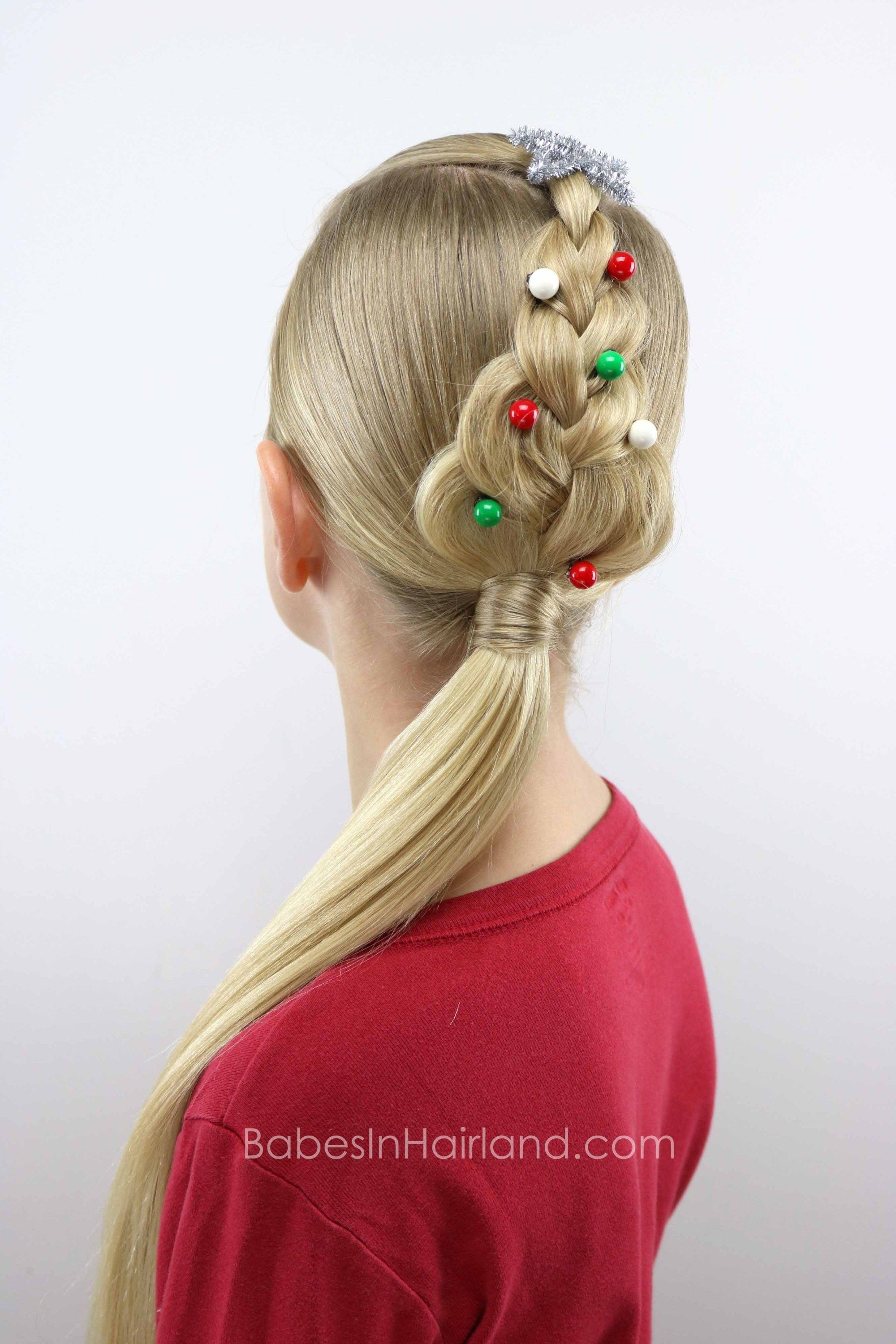For An Easy Christmas Hairstyle Try This Cute Christmas Tree Braid From Babesinhairland Com Cool Braid Hairstyles Kids Braided Hairstyles Braided Hairstyles