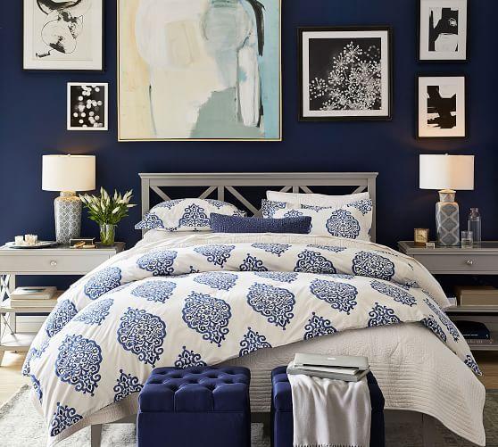 Asher Medallion Organic Percale Duvet Cover Amp Shams Twilight Blue Master Bedroom Bedroom Inspirations Home Decor Bedroom