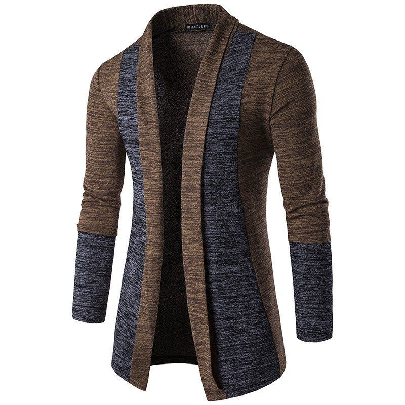 Men Casual Turn-down Collar Long Sleeve Single-breasted Cardigan Sweater New Hot