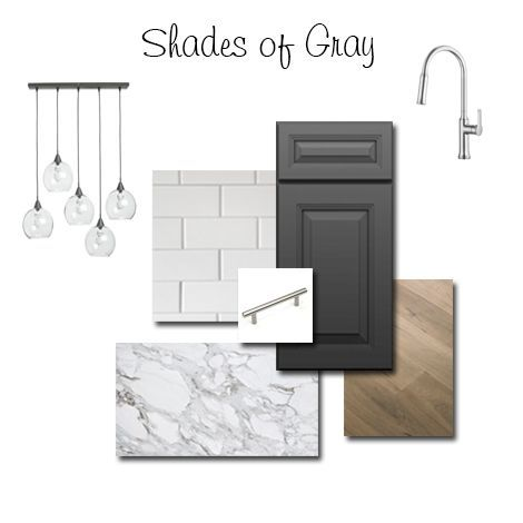 Kitchen Design board with Belmont Gilbraltar Gray cabinets from ProCraft Cabinetry #kitchen #kitchendesign #kitchendecor #shadesofgray #kitchendesignboard #graycabinets