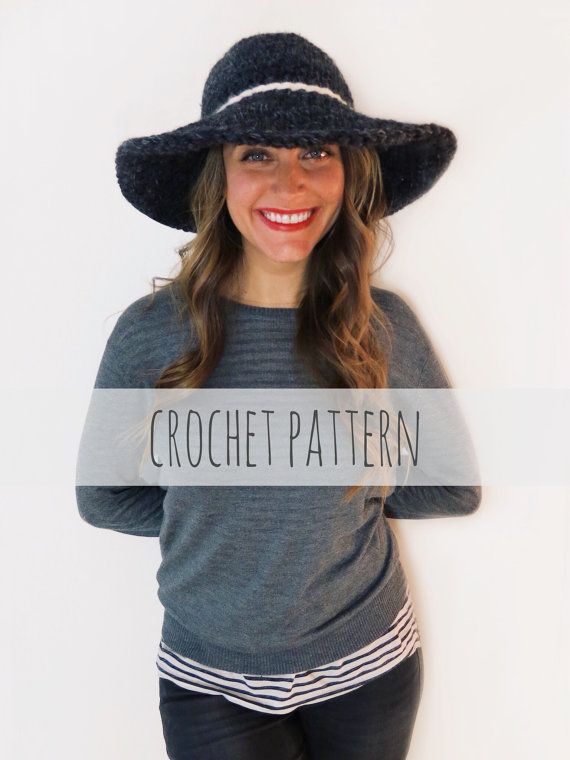PATTERN for Crochet Floppy Hat Winter Sun Wide Brim Derby Hat ...