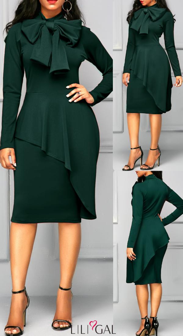 761b1c33 Dark Green Long Sleeve Tie Neck Sheath Dress #liligal #dresses ...