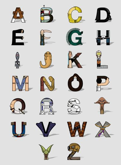 Star Wars alphabet Art Print by Fabian Gonzalez http://society6.com/lishoffs/Star-Warsphabet_Print via @society6