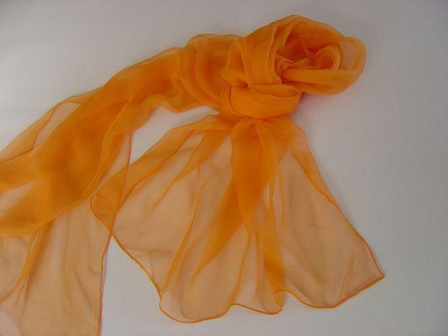 Seidenschals - Mandarine Chiffonschal Langschal Seidenschal - ein Designerstück von textilkreativhof bei DaWanda