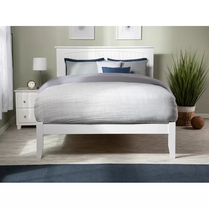 Graham Platform Bed White bed frame, King platform bed