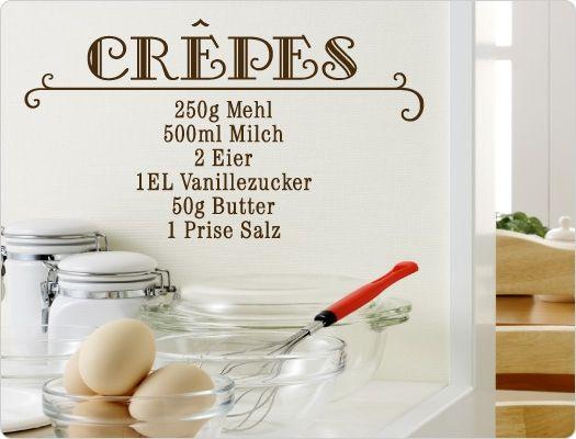 Wandtattoo Rezept Crepes Wandtattoo Küche Kochen, Würzen, Essen - küchen wandtattoo sprüche