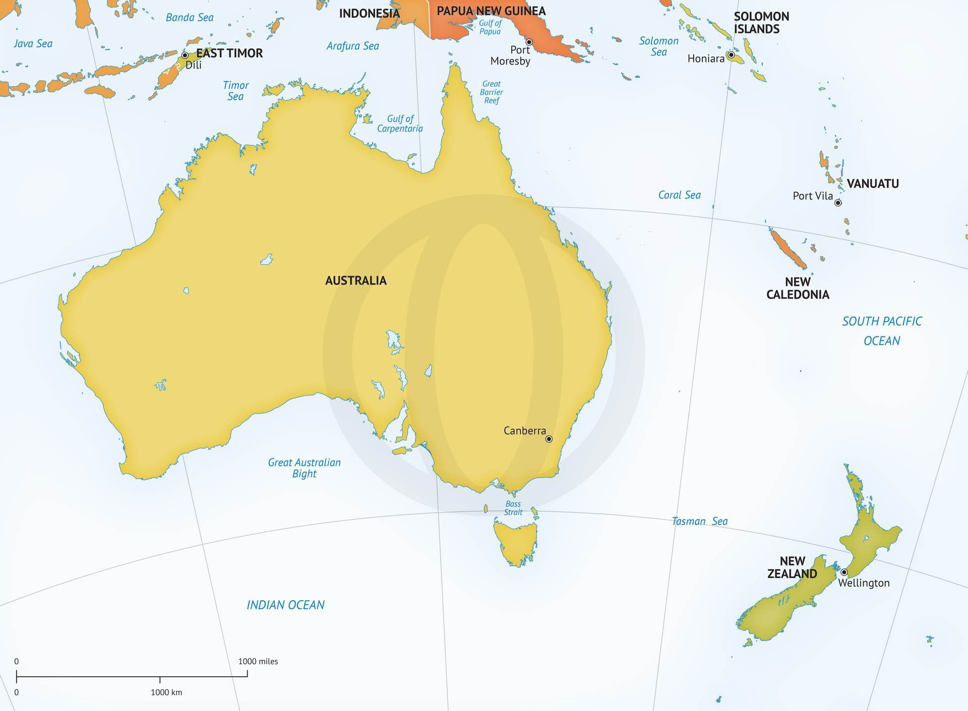 Vector Map Of Australia New Zealand