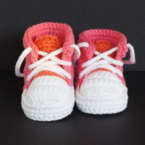 Handmade crochet red sports tennis shoes booties sneakers | Mini Booties