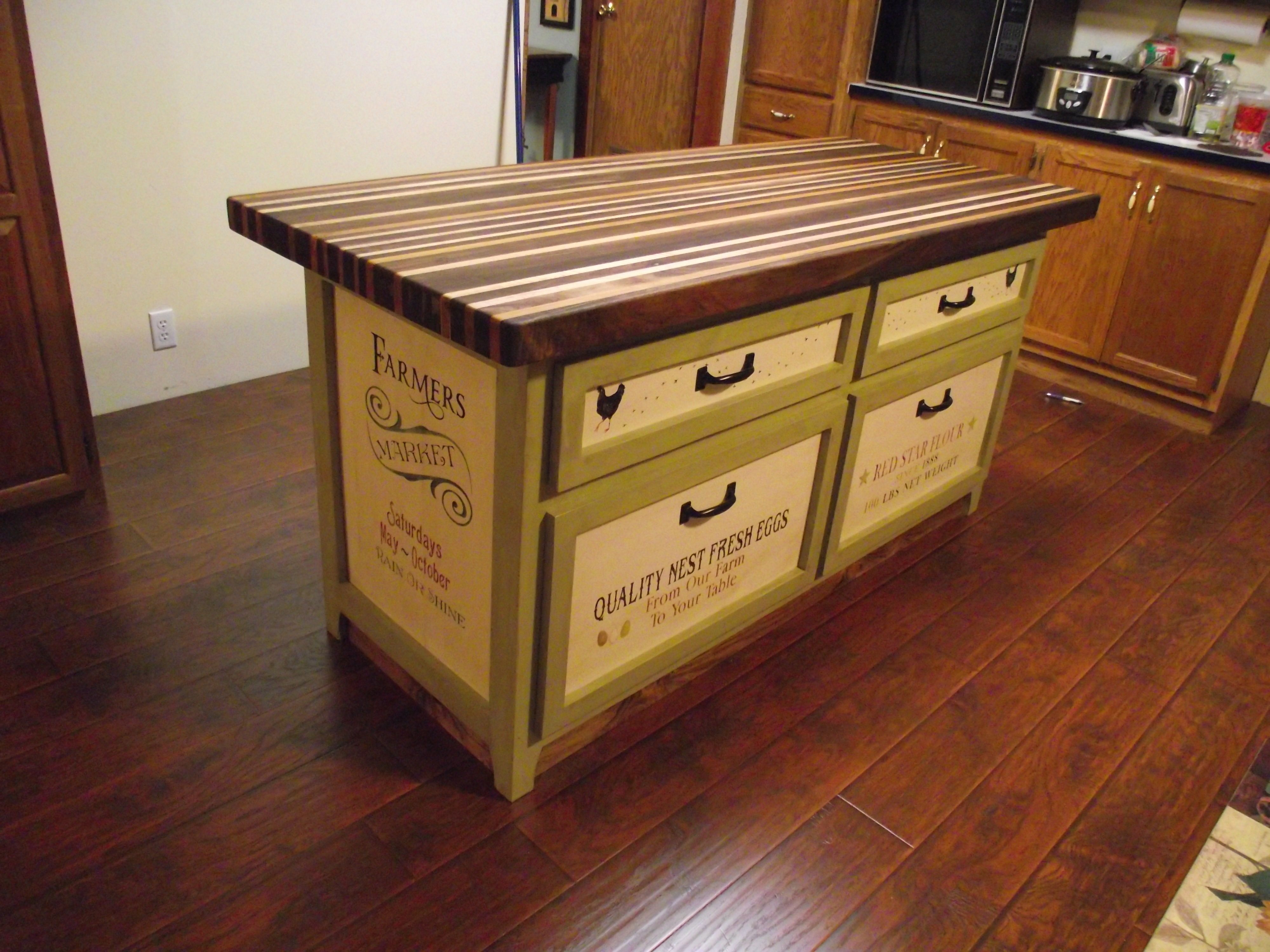 Kitchen island and butcher block top made by us with lumber my