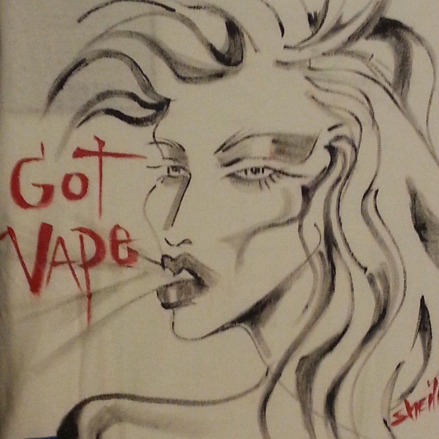 Shirts For Vape Shops Vape Queen 011 Punk Comic Fantasy Fashion Glam Industrial Alternative Counter Culture Vaporizer Art H Vape Art Art Hand Painted