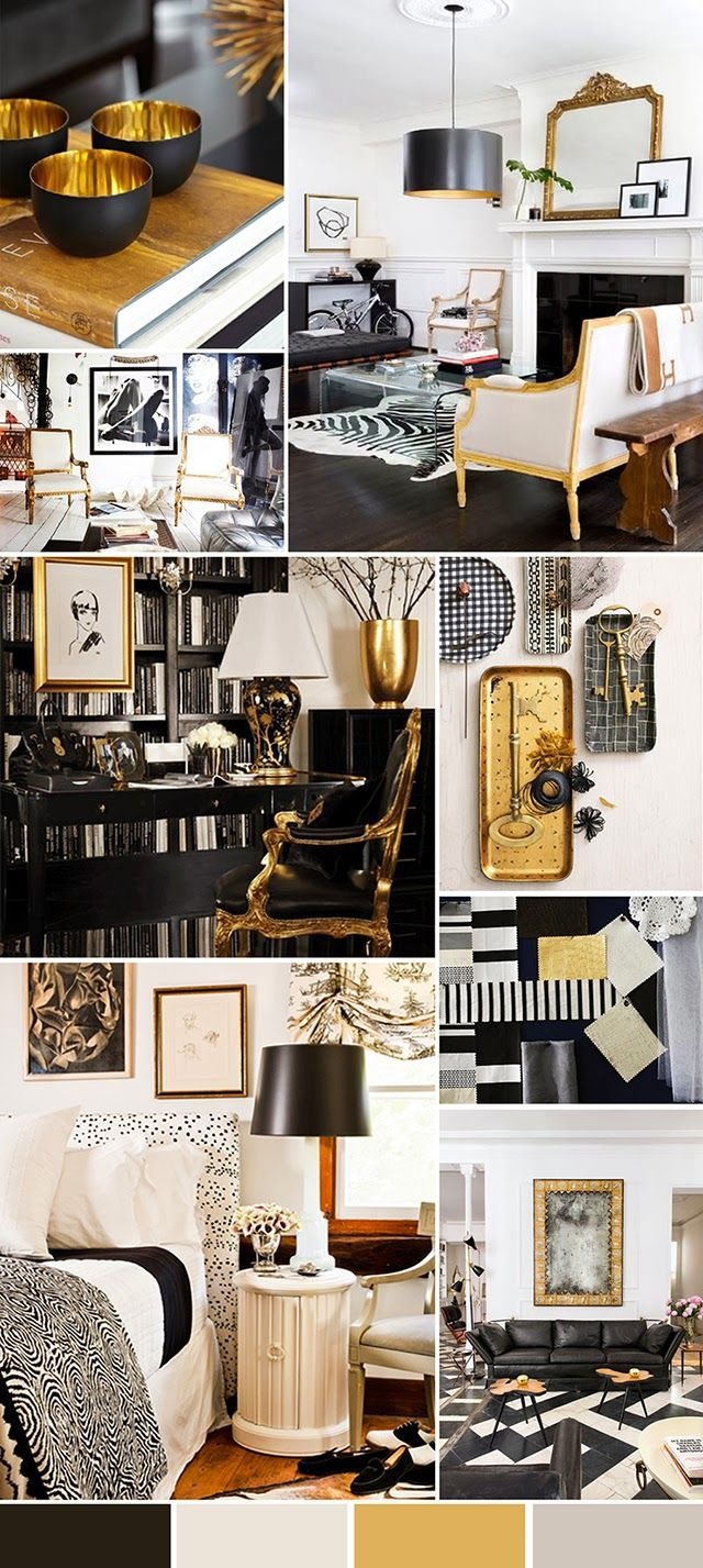 Black And White And Gold With Images Black And Gold Living
