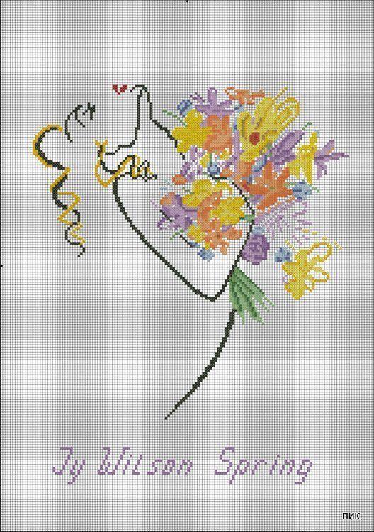 0 point de croix silhouette femme et bouquet de fleurs - cross stitch silhouette of a lady with bunch of flowers