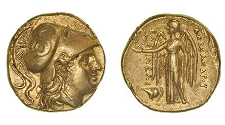 Kings of Macedon, Alexander III (336-323 BC), gold stater, Mesembria, helmeted head of Athena right, rev., Nike standing holding wreath and stylis, Corinthian helmet at feet, 8.42g
