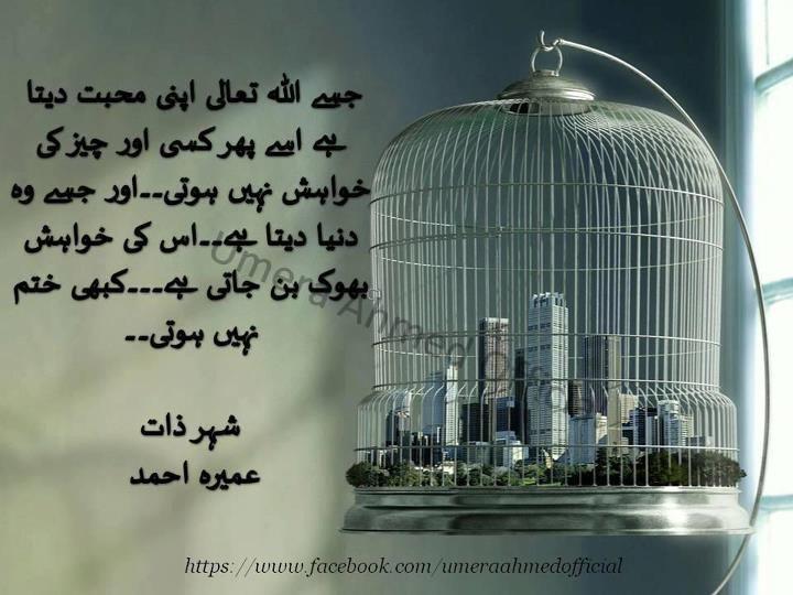 Umera Ahmed Shayari: Novel: Shehr E Zaat Writer: Umera Ahmed
