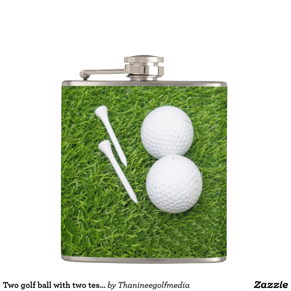 Two golf ball with two tess on green grass flask | Zazzle.com