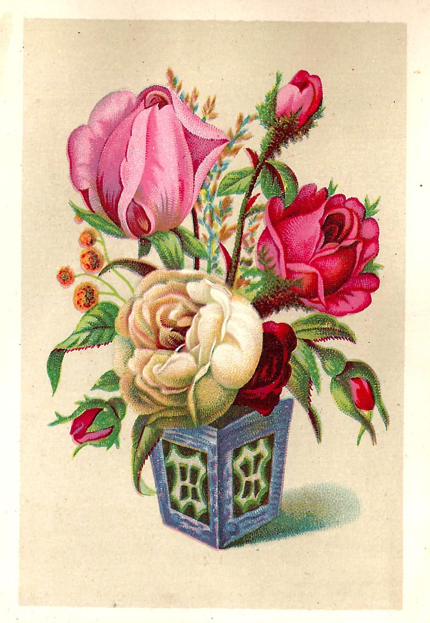 Free Flower Graphic Antique Pink And White Rose In Vase Clip Art From Victorian Scrap Card Flower Graphic Flower Printable Antique Images