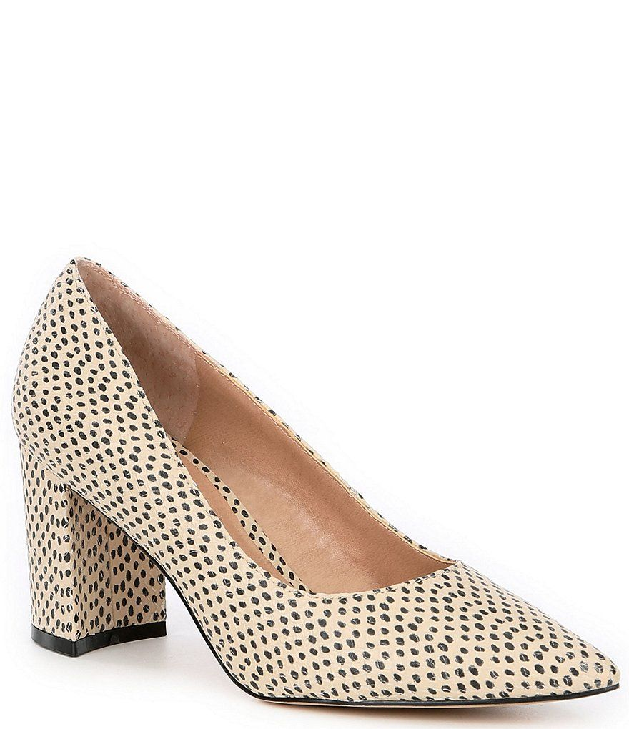 Chelsea Violet Maria Dot Print Leather Block Heel Pumps In 2020