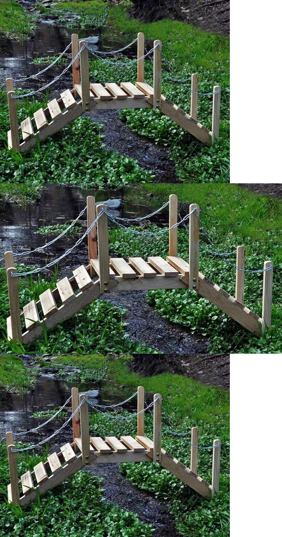 Bridges 115773: Wooden Garden Bridge With Chain Rails Stream Koi ...