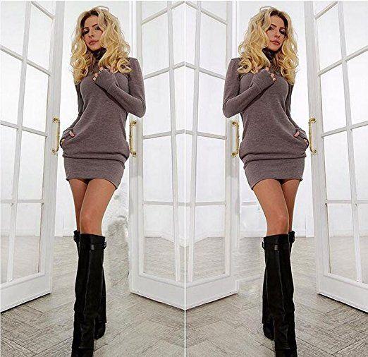 477c9fb86bef8 Abito corto donne Inverno collo alto a maniche lunghe aderente casuale  sottile  Amazon.it  Abbigliamento