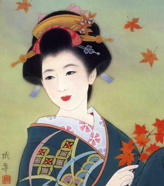 Japanese Geisha | Japanese Geisha In Fall Leaves Art Print by ...