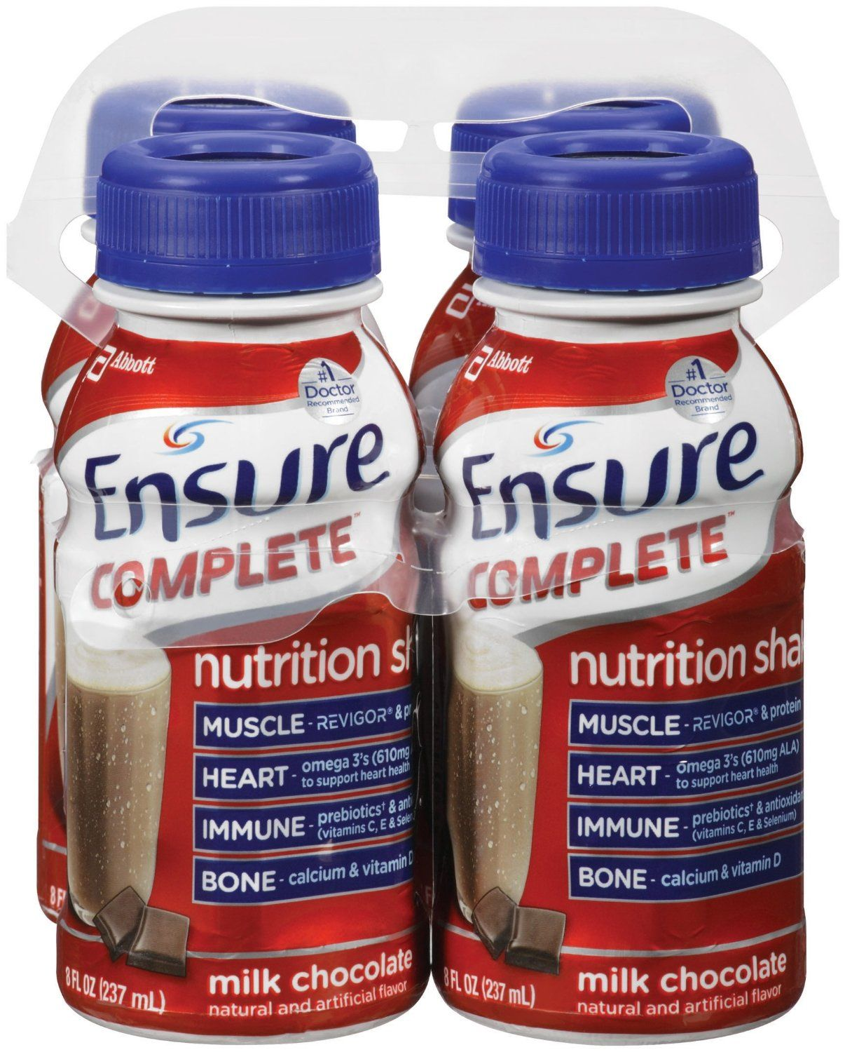 Ensure Complete Nutrition Shakes, Chocolate, 4 Count (Pack ...