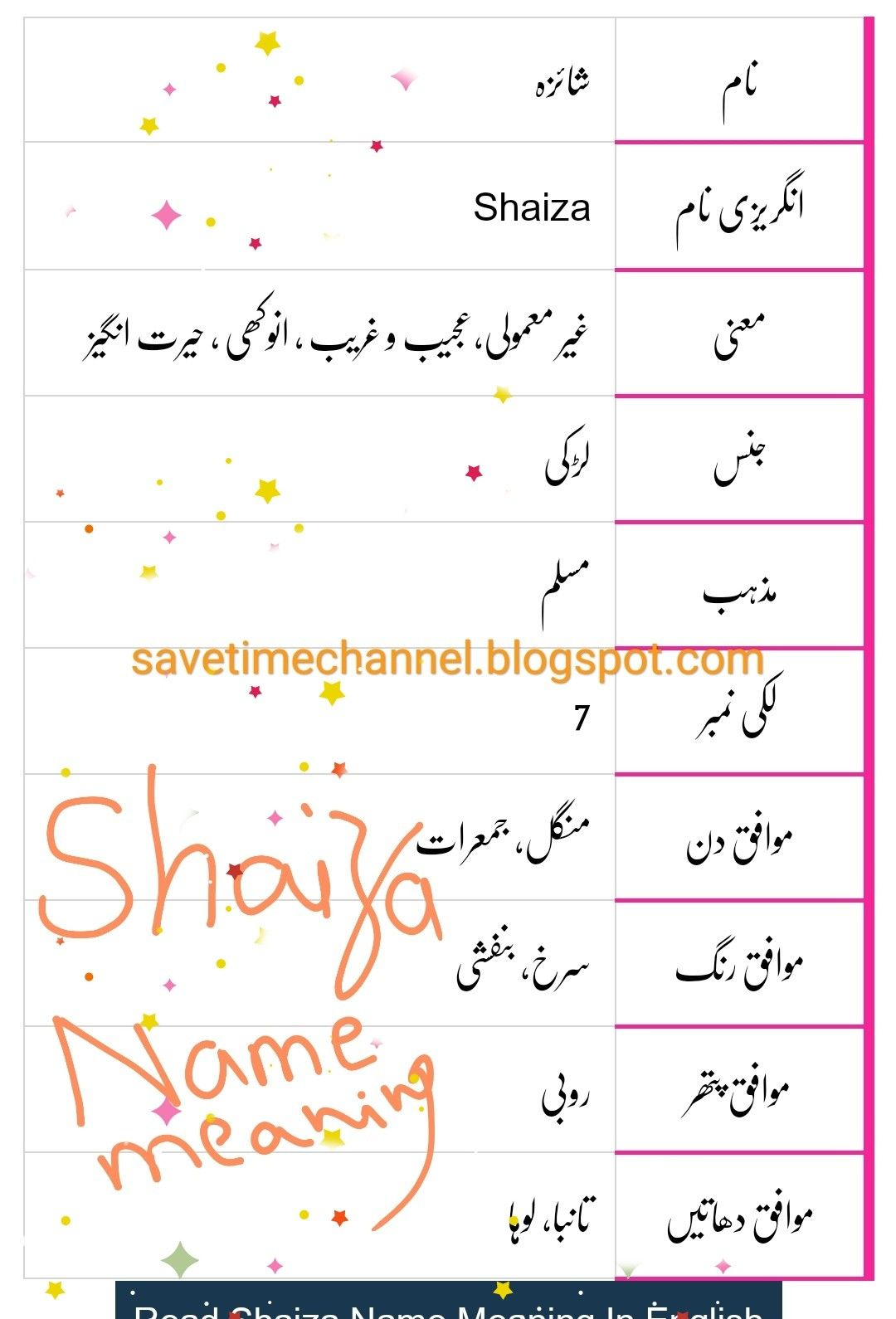 Shaiza Names With Meaning Names B Names