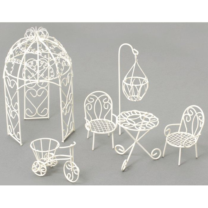 Fairy 6 Piece Garden Furniture Set is part of Mini garden Furniture - Give your garden a charming touch with this lovely set, or place it on the sunroom etagere for a dash of whimsical style
