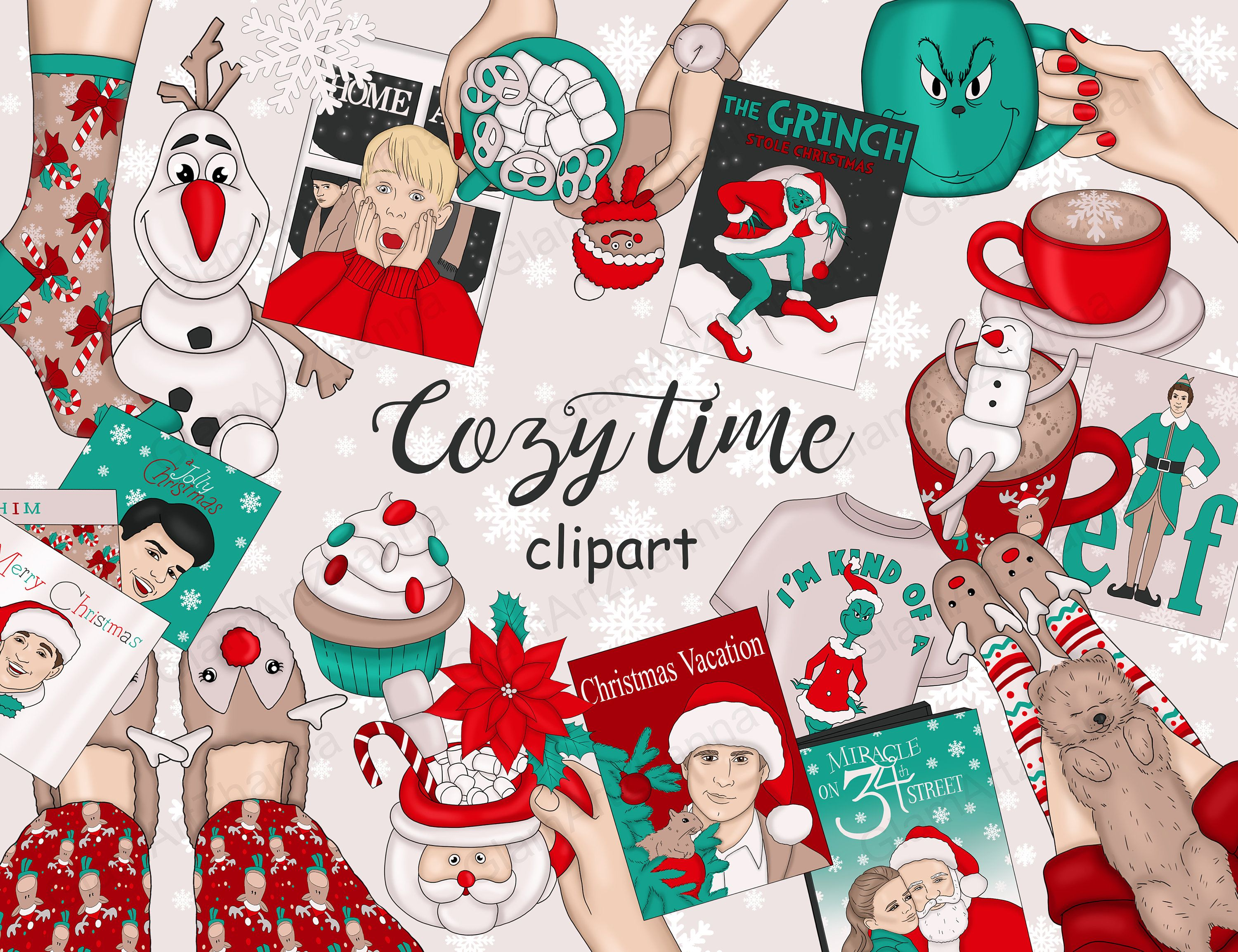 Cozy Time Christmas Clipart Weekend Clipart Holiday
