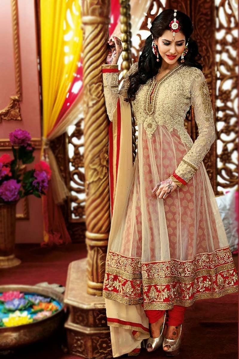 Cream Net Long Anarkali Salwar Kameez