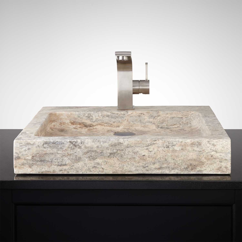 Square Polished Travertine Vessel Sink Bathroom Sink Bathroom Sink Design Stone Bathroom Sink
