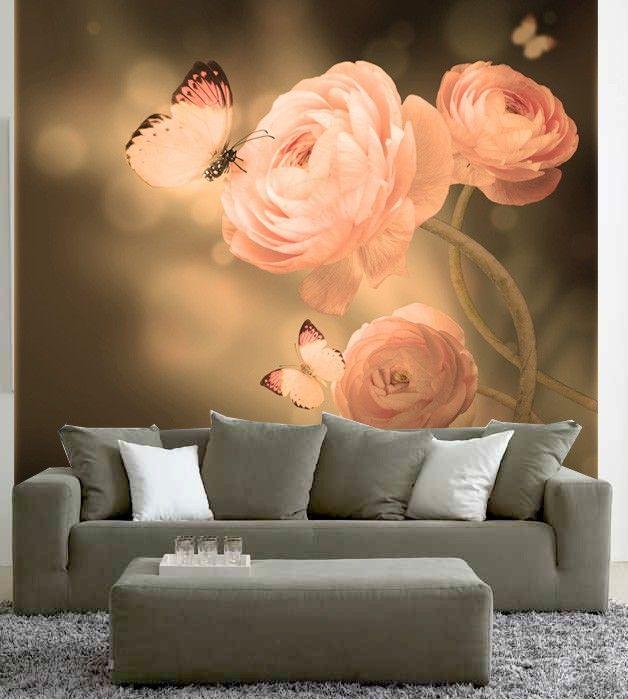 Romantische look voor de woonkamer #fotobehang - behang ideetjes ...