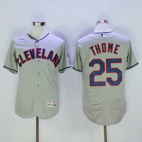 5c1312642 Men s Cleveland Indians  25 Jim Thome Gray Road 2016 Flexbase Majestic  Baseball Jersey