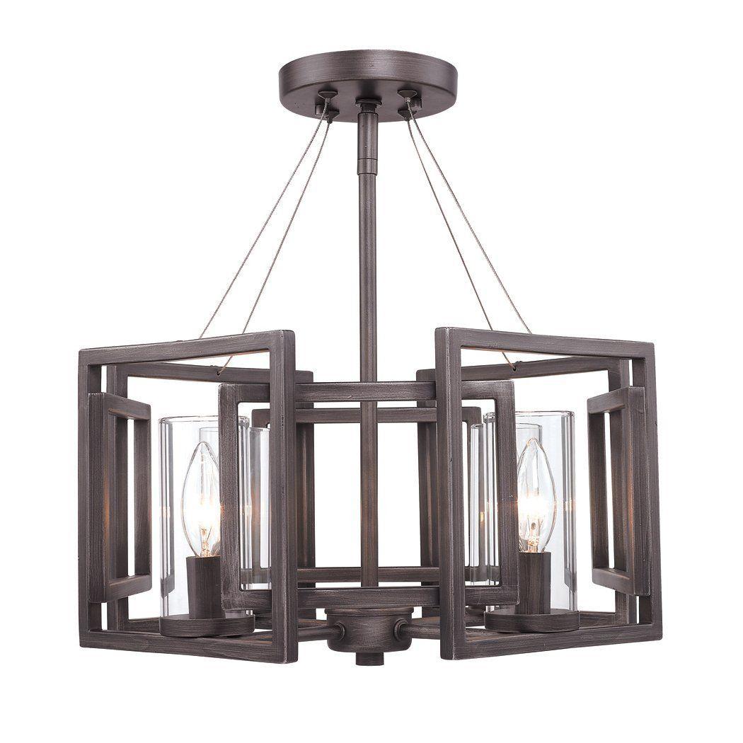 Golden Lighting 6068 Sf Gmt 4 Light Marco Convertible Semi Flush Ceiling