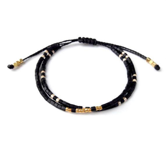 Black Beaded Bracelet, Friendship Bracelet, Beaded Wrap