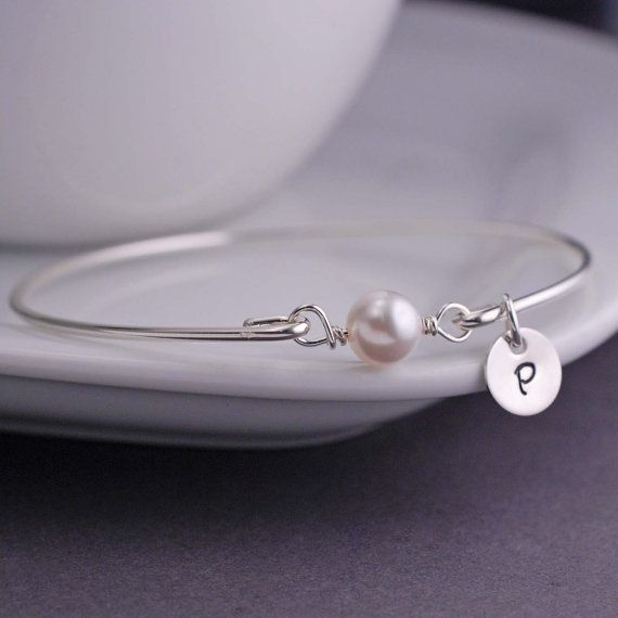 Sterling Silver Pearl Bracelet Personalized Bangle Bracelet Gift by georgiedesigns