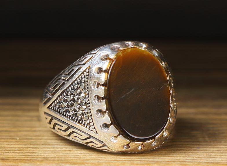 925 K Sterling Silver Man Ring Brown Tiger Eye 10 5 Us Size B19 64556 Rings For Men Bold Rings Silver Signet Ring