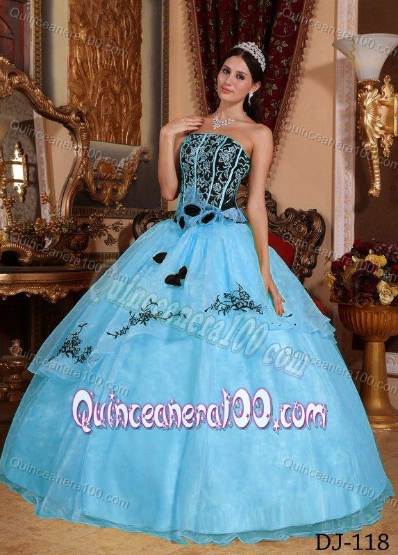 Blue and Black Quinceanera Dress with Embroidery and Rolling ...