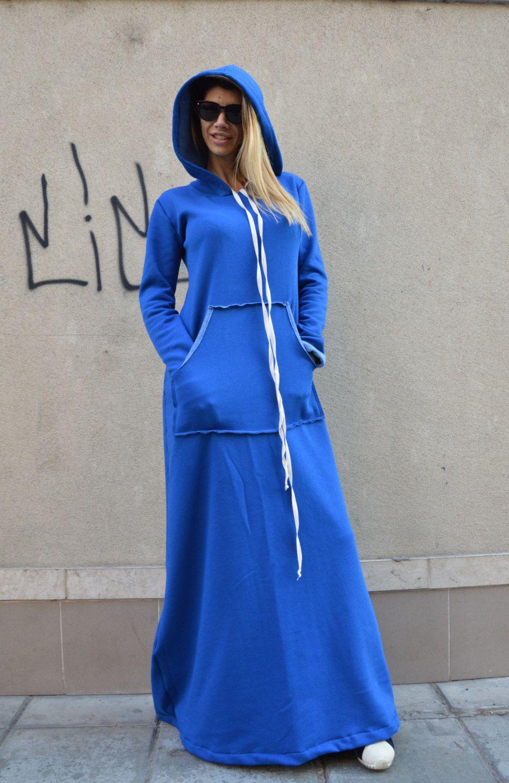 Cotton Long Dress Plus Size Hooded Dress Oversize Blue