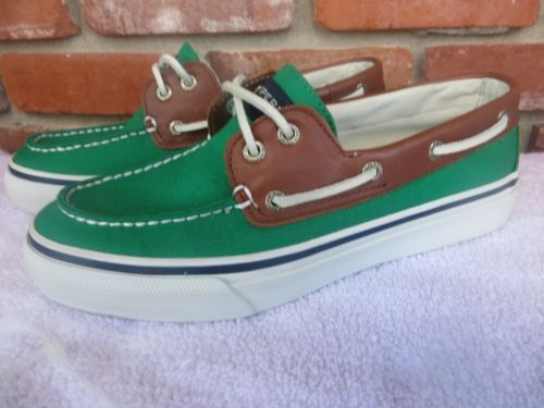 SPERRY TOP SIDER Mens Bahama Canvas Leather Irish Green Boat Deck Shoes NEW 8 M
