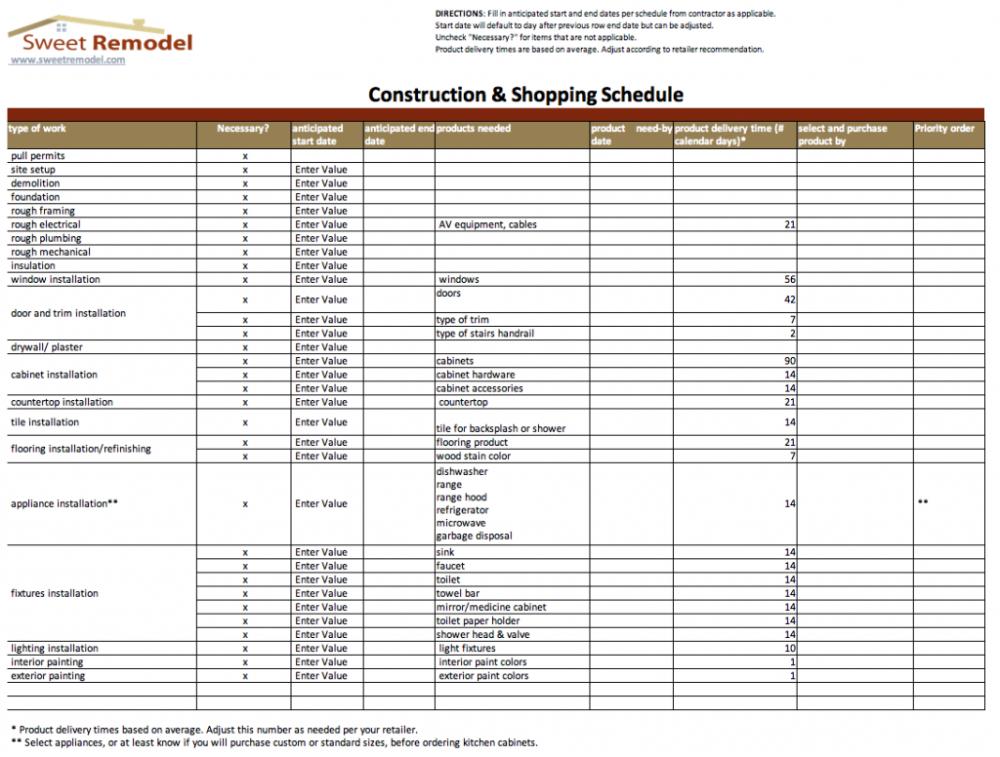 Construction Budget Spreadsheet El Building Estimating Free
