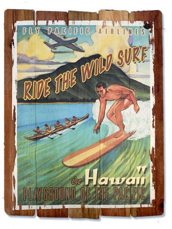 Vintage Wood Signs Hawaii Travel Retro Surf Surfing