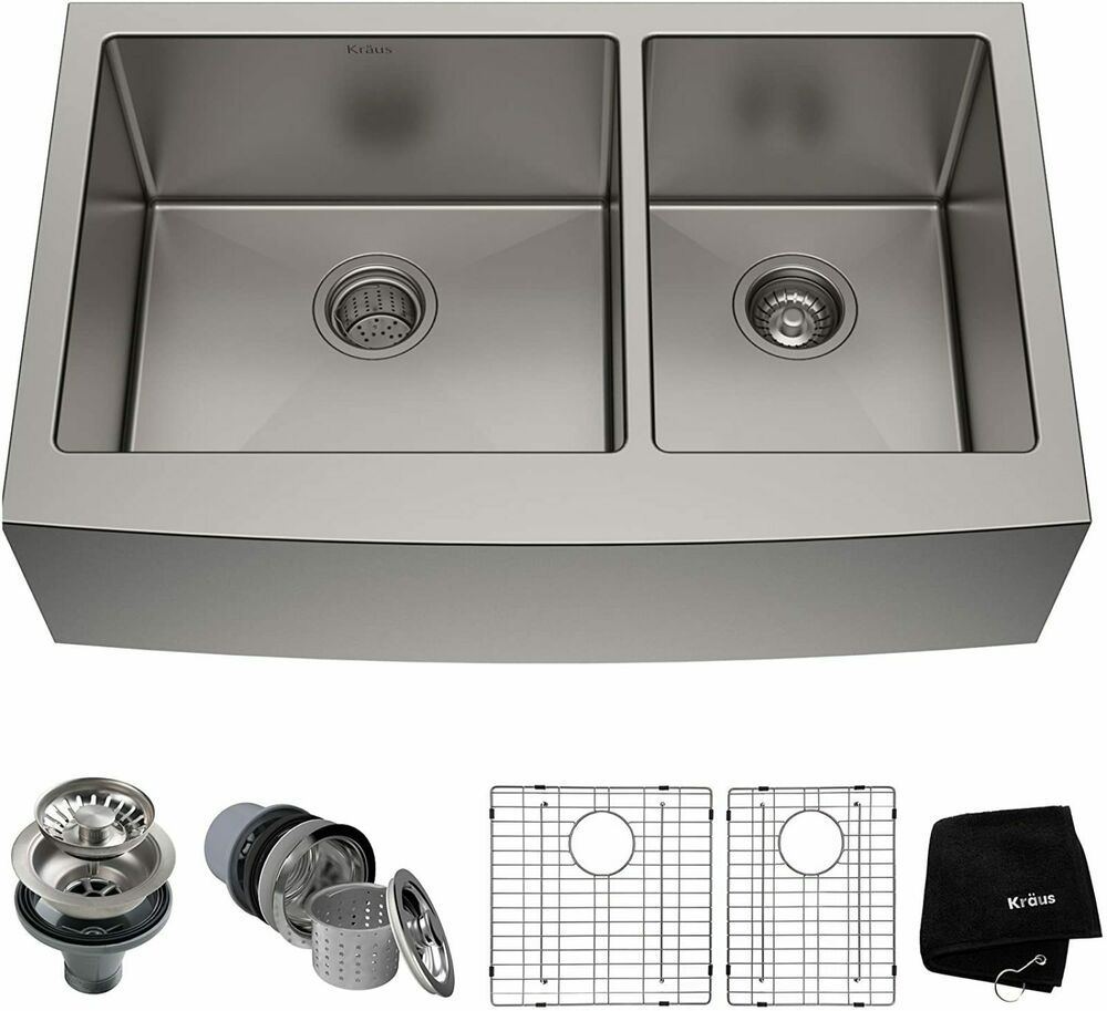 Kraus 36 Inch Stainless Steel Kitchen Sink Round Apron 60 40 Double Bowl 690001285478 Ebay In 2020 Stainless Steel Kitchen Sink Sink Stainless Steel Sinks