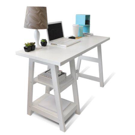 Amazon.com - Convenience Concepts Designs-2-Go Trestle Desk, White - Home Office Desks