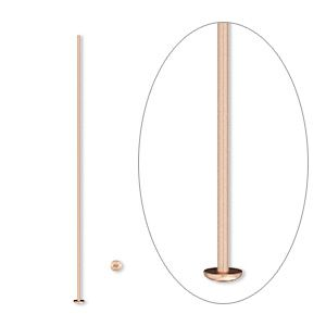 Head pin, 14Kt rose gold-filled, 1-1/2 inches, 24 gauge. Sold per pkg of 10.