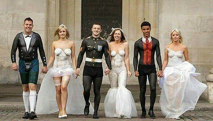 Pin By Costumes Makeup On Body Face Paint Couples Weird Wedding Dress Wedding Dress Fails Unusual Wedding Dresses