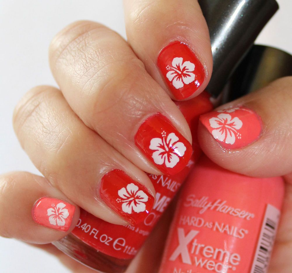 White Hibiscus Flower Blossoms Nail Art Hbw Tropical Vacation