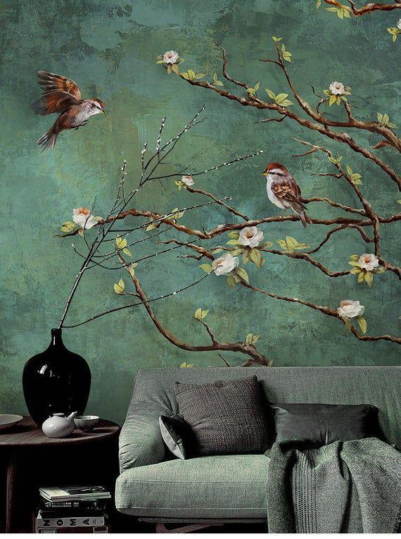 Vintage Dark Birds and Flowers Wallpaper, Nature W
