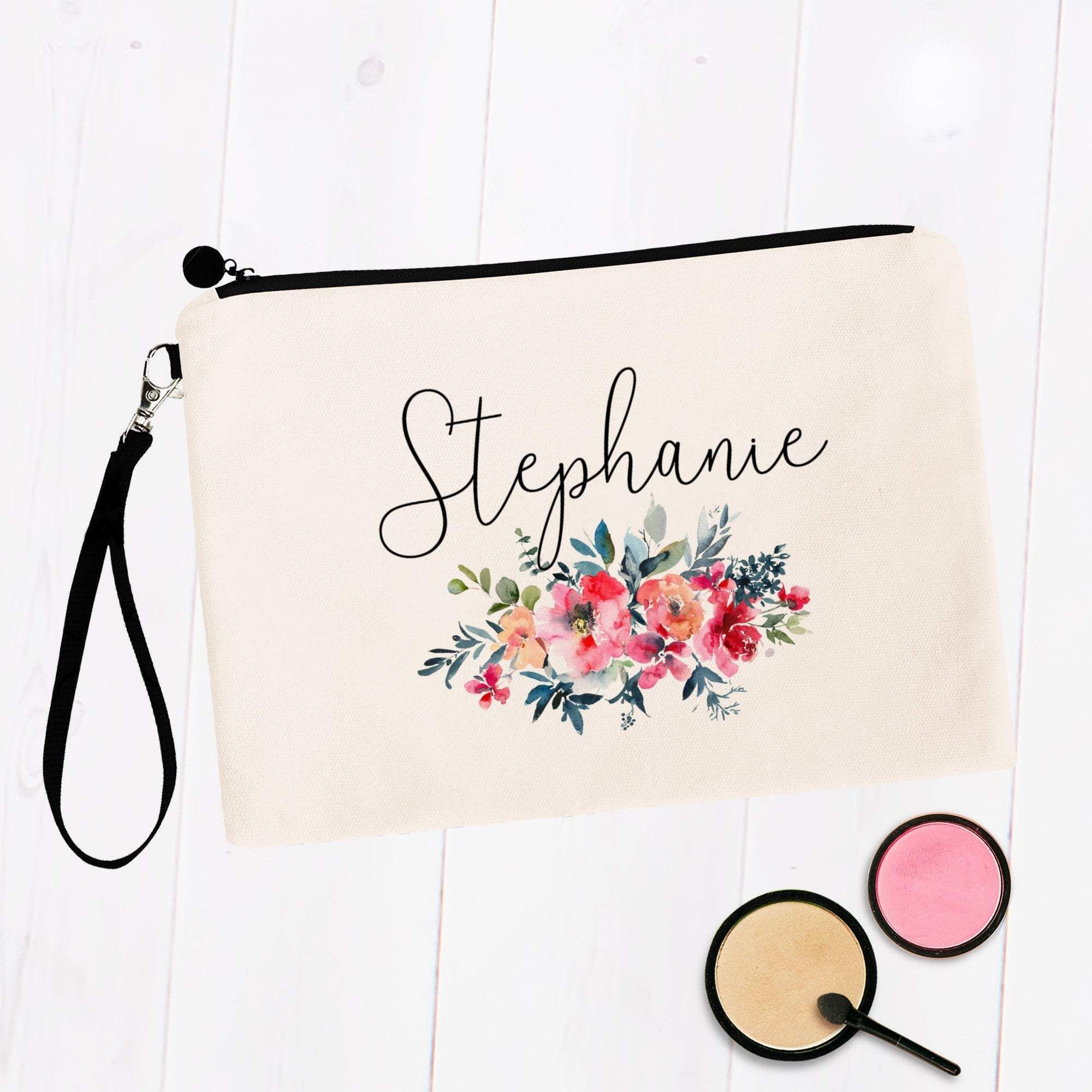 Watercolor Floral Custom Personalized Makeup Bag in 2020