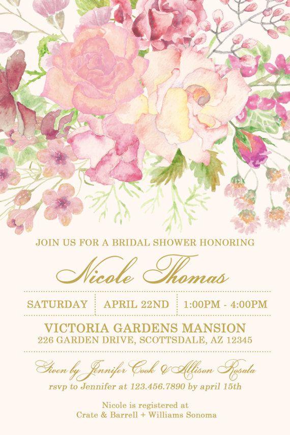 d0f3a5ef271 Watercolor Flower Bridal Shower Invitation Flower Garden