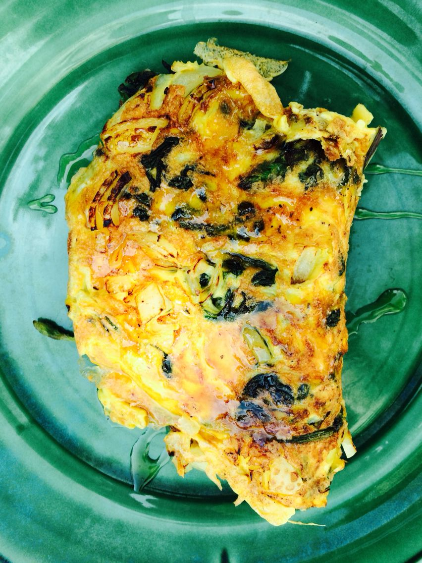 Hoplet: omelet with fresh hop sprouts, onion, cheese and topped with Mike's Hot Honey!